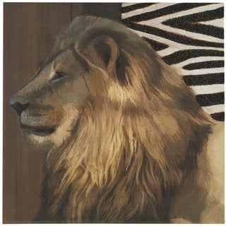 'Sparkling Glitter Lion' Wrapped Giclee Print Canvas Wall Art