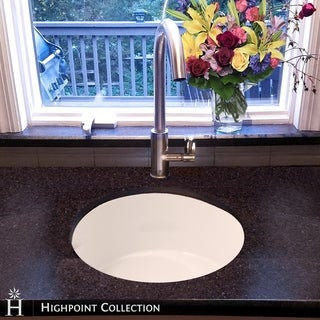 Highpoint Collection White Single Bowl Round Fireclay Kitchen Sink