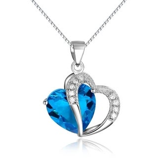 CGC Sterling Silver Blue White Cubic Zirconia Double Heart Necklace