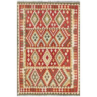 Herat Oriental Afghan Hand-woven Tribal Kilim Ivory/ Red Wool Rug (5'4 x 8')