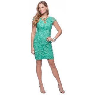 Vince Camuto Green Floral Lace Flutter Sleeve Shift Dress