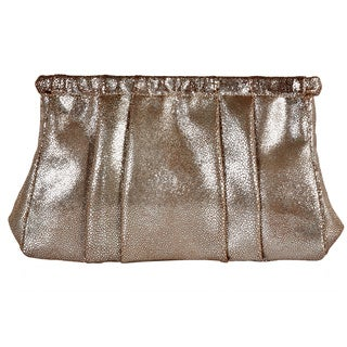 Camille Gold Leather Clutch Handbag