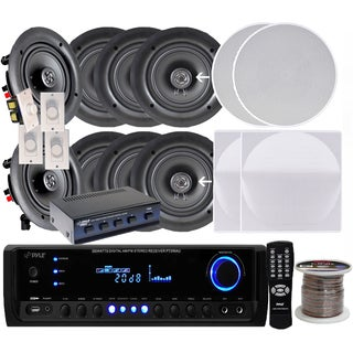 Pyle KTHSP390 Four Pairs of 6.5-inch 200W In-ceiling Speakers/ 300W Amplified Receiver/ Selector/ Volume Controls/ 250-foot Wire