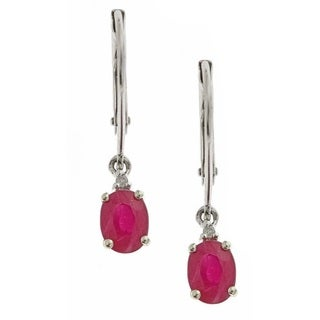Anika and August D'yach 10k White Gold Ruby with Diamond Fashion Earring (G-H, I1-I2)