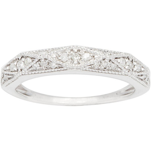 10k White Gold 1 3ct Pave Milgrain Diamond Band G H I1 I2 Overstock Shop