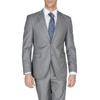 Men's Grey 2-button Single Breasted Slim Fit Wool and Silk Blend Suit
