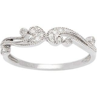 10k White Gold 1/6ct TDW Pave Diamond Vintage Style Ring (G-H, I1-I2)