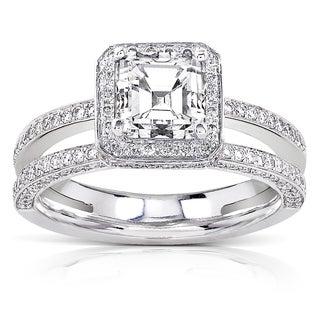 Annello 18k Gold 1 1/2ct TDW Certified Asscher Diamond Engagement Ring (F-G, VS1-VS2)