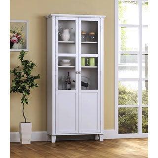 69-inch Wood and Glass 2-door Storage Cabinet