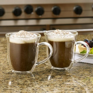 BonJour Coffee 2-Piece Insulated Glass Cappuccino Cup Set