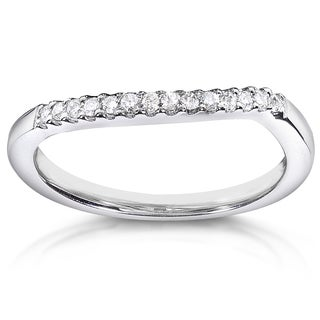 Annello 14k White Gold 1/10ct TDW Curved Diamond Wedding Band (H-I, I1-I2)