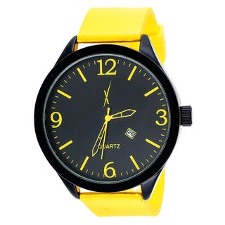 Xtreme Men's Black Case with Yellow Rubber Strap Watch
