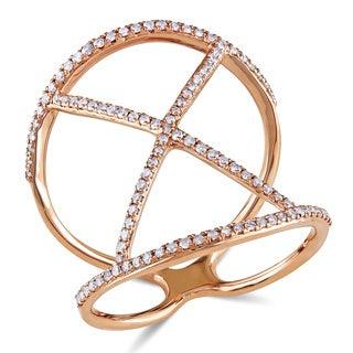 Miadora 14k Rose Gold 2/5ct TDW Diamond Criss-cross Ring (H-I, I1-I2)