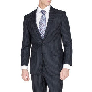 Men's Modern Fit Navy Pinstriped Wool and Silk Blend Suit