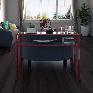 Upton Home Red Metal and Glass Sofa/ Console Table