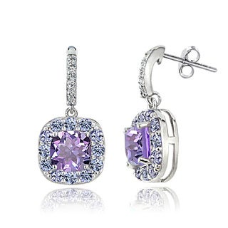 Glitzy Rocks Sterling Silver White Topaz Amethyst Tanzanite Dangle Earrings