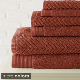 6-piece Zero Twist Herringbone Towel Set