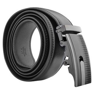 Zodaca Black Carbon Fiber 51-inch Men Automatic Buckle Genuine 100% Leather Belt with Gift Box Package