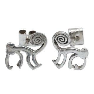 Handcrafted Silver 'Playful Nazca Monkey' Earrings (Peru)