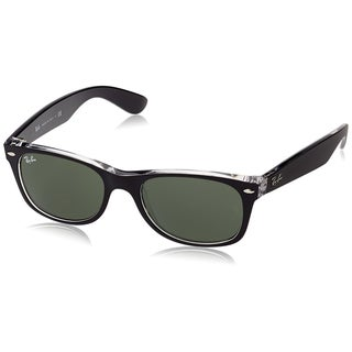 Ray Ban Sunglasses New Wayfarer RB2132 (Black Transparent/Green Lens) - 55mm