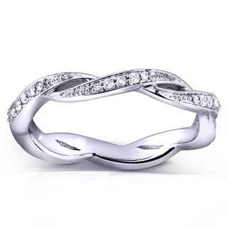 Annello 10k White Gold 1/6ct TDW Round Diamond Eternity Band (H-I, I1-I2)