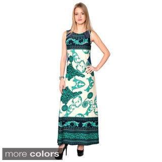 Nancy Yang Women's Mixed Pattern Sleeveless Long Dress