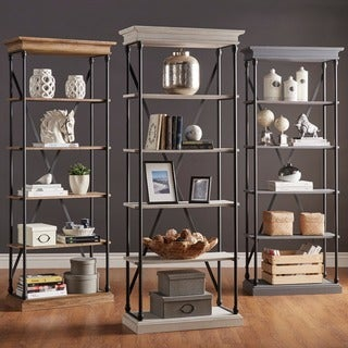INSPIRE Q Barnstone Cornice Brown Oak Driftwood Single Shelving Bookcase