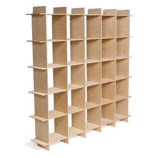 25-cubby Mid Century Baltic Birch Bookcase