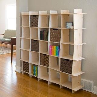 25-cubby Wave Mid Century Raw Baltic Birch Bookshelf