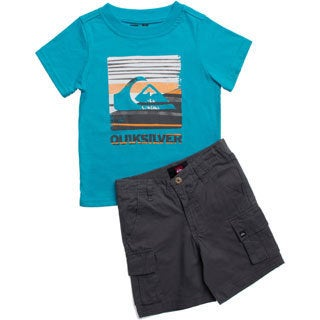 Quicksilver Toddler Boys Light Blue and Grey 2-piece Outfit