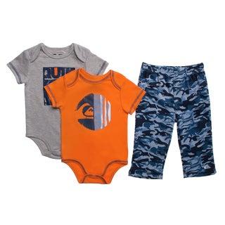Quicksilver Infant Boys Orange Creepers 3-piece Bodysuit and Pant Set