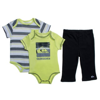 Quicksilver Infant Boys Green Creepers 3-piece Bodysuit and Pant Set