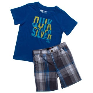 Quicksilver Toddler Boys Blue Plaid 2-piece Tee and Board Shorts Set