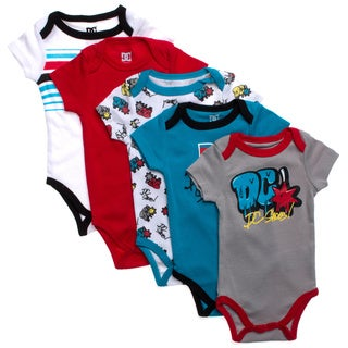 DC Newborn Boys Red and Blue Theme 5-piece Bodysuit Set