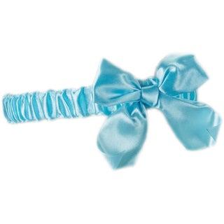Fantasy Lingerie Blue Bridal Satin Bow Stretch Leg Garter