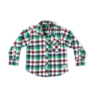 Something Strong Boys Long Sleeve Flannel Shirt in Green