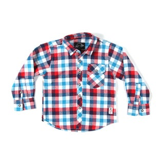 Something Strong Boys Long Sleeve Flannel Shirt in Pink