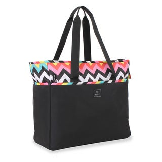 French West Indies 18-inch Black Chevron Carry On Weekender Tote Bag