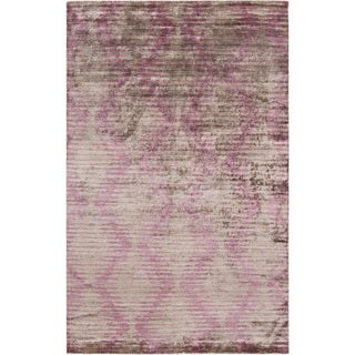 Hand-Knotted Brian Stripe Viscose Rug (9' x 13')