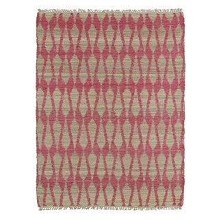 Handmade Natural Fiber Cayon Pink Rug (7'6 x 9'0)