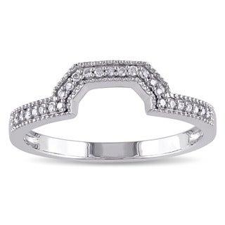 Miadora 10k White Gold 1/10ct TDW Diamond Contour Wedding Band (G-H, I2-I3)