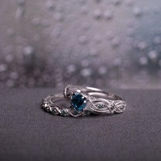 Miadora 10k White Gold 1ct TDW Blue Diamond Bridal Ring Set