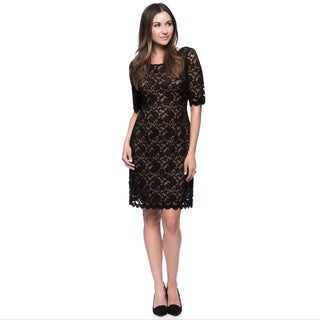 Connected Apparel Missy Lace Overlay 3/4 Sleeve Dress