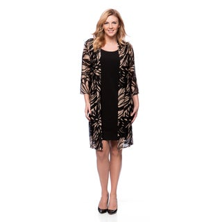 Connected Apparel Plus Knee Length Printed Jacket and Solid Dress
