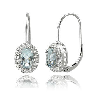 Glitzy Rocks Sterling Silver Aquamarine White Topaz Leverback Earrings