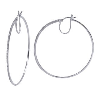 Sterling Silver 1/10 ct Diamond Encrusted Hoop Earrings