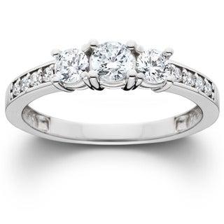 Bliss 14k White Gold 1ct TDW Diamond 3-stone Engagement Ring (J-K, I2-I3)