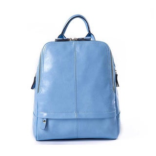 Light Blue Faux Leather Backpack