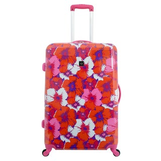 French West Indies 28-inch Large Hardside Spinner Upright Flower Suitcase