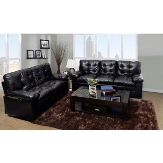 Chocolate Tufted Faux Leather Love Seat